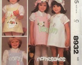 McCall's 8932, Size 6, Children's Jumper, Hat and Blue Transfer and Applique Pattern, UNCUT, Pullover jumper, Alphabet, Vintage 1984