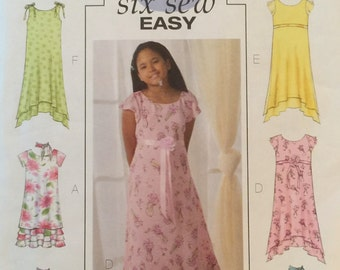 Butterick B4435, Size 7-8-10, Girls' Dress and Scarf Pattern, UNCUT, Lined Dress, Pullover, Flounces, Party Dress, Six Sew Easy, 2005