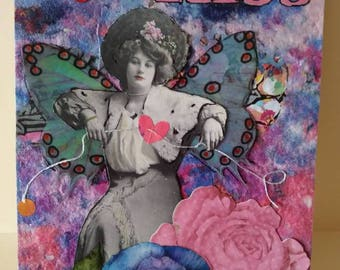 Original Mixed Media Art Work Collage/Gimme a Kiss/ Victorian Lady
