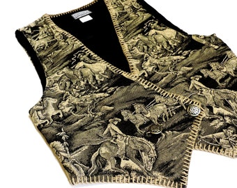 Cowgirl Tapestry Vest, Womens Western Sz Small Roughrider Circle T Ladies Western Wear Cowboys Indians Lined Vest, Black Tan itsyourcountry