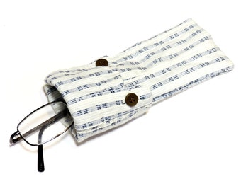Fabric Sunglasses Case, Unisex Washable Eye Glass Pouch, Eco Handmade Blue Stripe Protective Eyewear Sleeve itsyourcountry