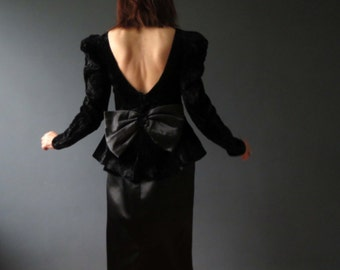 Vintage 80s Crushed Velvet Satin Structured Dress Backless with Bow