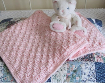 """Pink Baby Afghan Hand Crocheted Acrylic """"I Love This Yarn"""" Super Soft Stroller/Car Seat Blanket, Baby Shower, Christening/Baptism Blanket"""