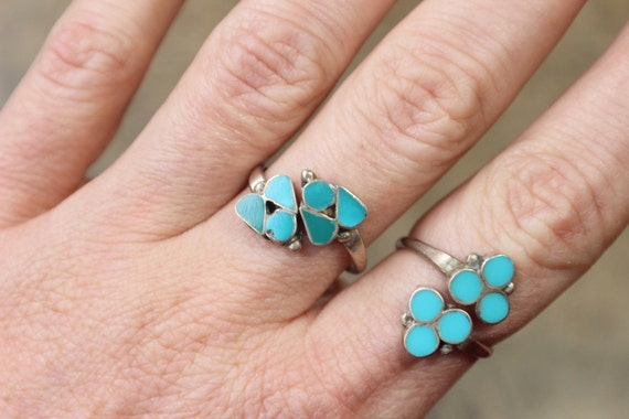 Turquoise Wrap RING / Adjustable Ring / Southwest Jewelry / Vintage Sterling Silver Ring