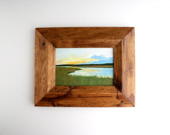 Framed Marsh Landscape Painting