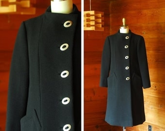 20% OFF FALL SALE / vintage Pauline Trigère black wool coat / size small