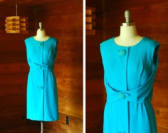 20% OFF FALL SALE / vintage 1950s dress / 50s Parnes Feinstein linen turquoise dress / size medium
