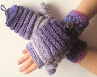 Mittens Fingerless Gloves Convertible Mittens Purple Gray Arm Warmers Knit Soft