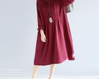 Spring wine red dress/ dark blue dress/ Women Loose  long dress