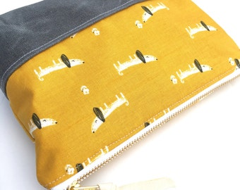 Dog Zipper Pouch, Mustard Cosmetic Bag, Metal Zipper with Waxed Canvas Base, Grey