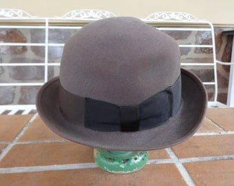 Vintage men's hat derby fedora bowler 1940-50's Hipster royal diplomat 6 3/4 retro