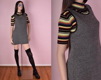 90s Houndstooth Knit Dress/ Medium/ 1990s/ Tank/ Sleeveless