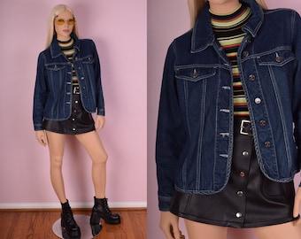 90s Blue Denim Jacket/ Medium/ 1990s/ Jean Jacket