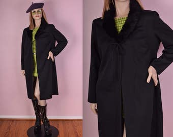 90s Black Faux Fur Collar Duster/ XL/ 1990s/ Jacket/ Coat/ Cardigan