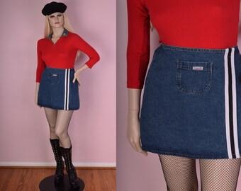 90s Sporty Denim Skirt/ Large/ 1990s/ Wrap Skirt