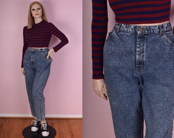80s Stone Wash High Waisted Jeans/ US 18/ 1980s/ Mom Jeans