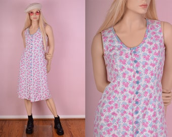 80s Floral Print Denim Button Down Dress/ Small/ 1980s/ Tank/ Sleeveless