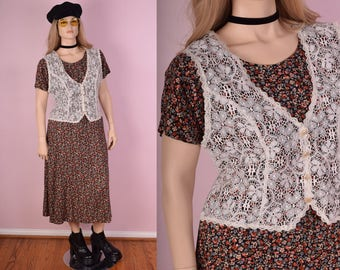 90s Floral Print Maxi Dress/ Large/ 1990s/ Flowy