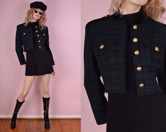 80s Military Wool Plaid Cropped Jacket/ US 4/ 1980s
