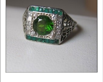 Antique Art Deco 18k  Filigree Chrome Diopside Princess Cut Diamond Emerald Engagement Ring