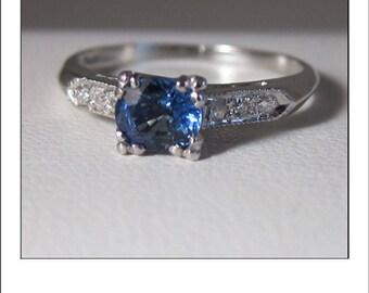 Antique Art Deco Platinum .75 Ct. Cornflower Blue Sapphire Diamond Engagement Ring