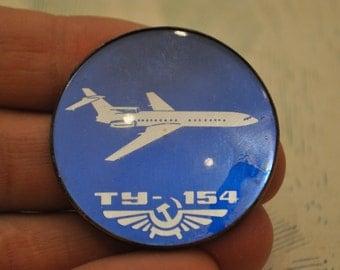 "Vintage Soviet Russian badge,pin.""Russian aircraft TU-154"""