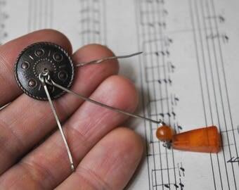 Vintage Latvian copper-pressed Amber Pin, Brooch.