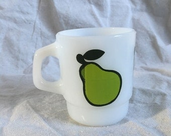 Fire King Pear Milk Glass Stacking Mug