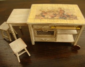 OOAK miniature Tuscan style kitchen table shabby chic