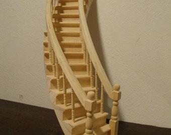 dollhouse miniature  curved dollhouse staircase