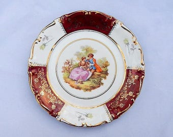 Fragonard Courting Couple Porcelli Bavarian German Vintage Collectible Porcelain Plate