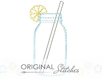 Quick Stitch Lemon Straw Mason Jar Drink Machine Embroidery Digital Design File  4x4 5x7 6x10