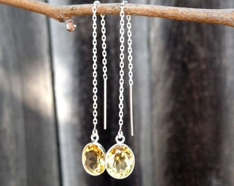Natuarl Yellow Citrine Ear Threader Sterling Silver Thread Earrings ZZ86