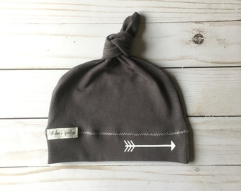 Jersey knit arrow hat/infant/baby/arrows/gray