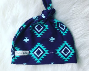 Navy Baby Hat/ Baby Knotted Hat/ Organic Cotton Hat/ Knotted Cap/ Baby Hat/ Infant Hat / navy and aqua tribal