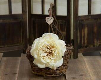 Rustic twig flower girl basket decorated with vanilla rose personalized with bride and groom initials other flowers to select from