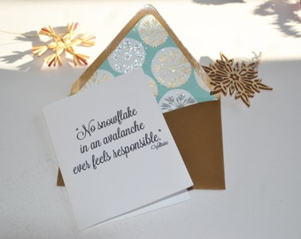 """Winter Themed - Voltaire Quote - """"No Snowflake in an Avalanche..."""" - Single Blank Card - Handmade Paper Lined Envelope + Gold Envelope"""