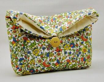 Foldover clutch, Fold over bag, clutch purse, evening clutch, wedding purse, bridesmaid gifts - Garden flowers (Ref. FC32 )