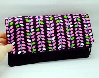 Foldover zipper clutch, zipper pouch, wedding purse, evening clutch, bridesmaid gifts set - Vines (Ref. FZ25)