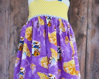 Beauty and the Beast girls ruffled shorts set, custom clothing, character clothing, halter top and ruffled shorts,  RTS size 7