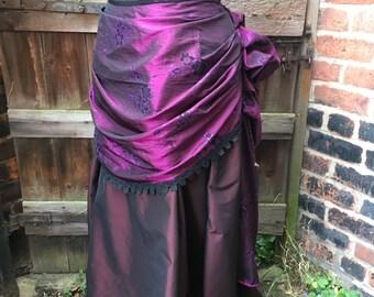 """Purple glitter taffeta bustle skirt (waist 36"""")"""