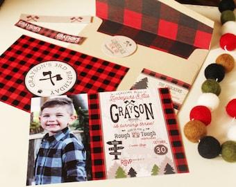 Lumberjack Birthday Invitation, Printable Lumberjack birthday invite, Camping invitation, Lumberjack Photo invitation