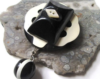 Vintage Button and Buckle Pin:  Black and White Dangle