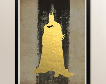 Vintage Batman Gold Foil Print Minimalist Art Print