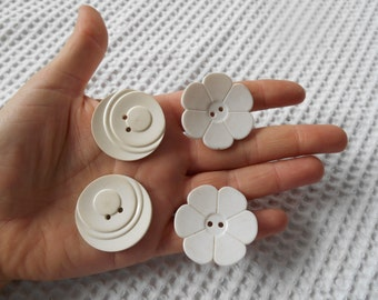 4 Large Buttons Decorative White Plastic Flower and Curve 1960s  Retro