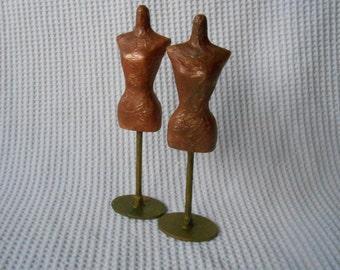 2 Mini Mannequins Metallic Finish Dolls House  Home Decor