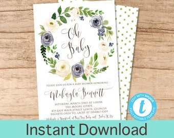 Baby Boy Shower Invitation, Blue floral, Watercolor, Wreath Baby Shower invitation, Floral Invitation, Oh Baby, EDITABLE Instant Download