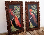 Pair of Vintage Mexico Feather Art in Hand Carved Wood Frame