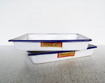 "Two 12"" Enamelware Trays Photography Film Developing / Medical Equipment Sterlizing Tray"