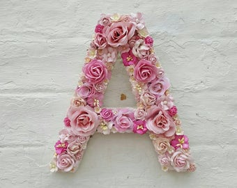 Flower Letter Floral Letter Pink Flowers Personalised Wall Letter Initial Monogram Nursery Decor Wedding Girl's Bedroom Baby Gift